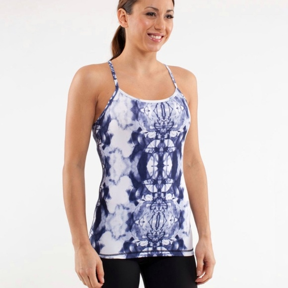 428f8dc6f0cf6 lululemon athletica Tops - Lululemon Ink Blot White Deep Indigo Power Y Tank